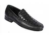 Lombardy - Genuine Caiman Crocodile & Leather  Loafer - Black
