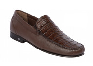 Lombardy - Genuine Caiman Crocodile & Leather  Loafer - Brown