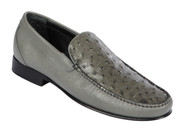 Lombardy - Genuine Ostrich Quill & Leather  Loafer - Grey