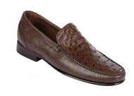 Lombardy - Genuine Ostrich Quill & Leather  Loafer - Brown