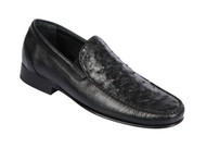 Lombardy - Genuine Ostrich Quill & Leather  Loafer - Black