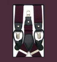 Convertible Button & Clip Stretch Braces - Suspenders - Plum