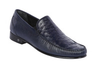 Lombardy - Genuine Ostrich Quill & Leather  Loafer - Navy Blue