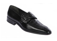 Lombardy - Genuine Caiman Belly Dress Loafer  with Side Loop- Black