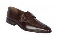 Lombardy - Genuine Caiman Belly Dress Loafer with Side Loop- Brown