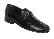 Lombardy - Genuine Caiman Croc Belly & Leather Horsebit Loafer - Black