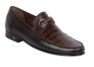Lombardy - Genuine Caiman Croc Belly & Leather Horsebit Loafer - Brown