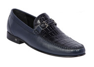 Lombardy - Genuine Caiman Croc Belly & Leather Horsebit Loafer - Navy