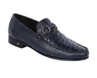 Lombardy - Genuine Ostrich Quill & Leather Horsebit Loafer - Navy