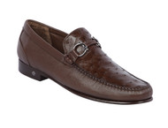Lombardy - Genuine Ostrich Quill & Leather Horsebit Loafer - Brown