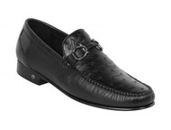 Lombardy - Genuine Ostrich Quill & Leather Horsebit Loafer - Black