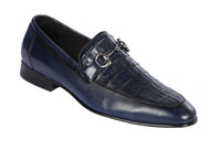 Lombardy - Genuine Caiman Belly Horsebit Dress Loafer - Navy