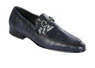 Lombardy - Genuine Teju Lizard Horsebit Dress Loafer - Navy