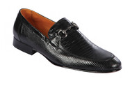 Lombardy - Genuine Teju Lizard Horsebit Dress Loafer - Black