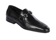 Lombardy - Genuine Calf Leather Horsebit Dress Loafer - Black