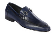 Lombardy - Genuine Calf Leather Horsebit Dress Loafer - Navy