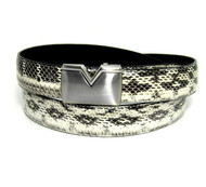 30mm Men's Genuine Python Snake Skin Belt - Bone Natural Tone