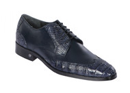 Lombardy - Genuine Caiman Belly Wingtip Dress Shoe -Navy