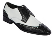 Lombardy - Genuine Caiman Belly Wingtip Dress Shoe - Black & White