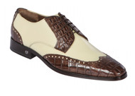 Lombardy - Genuine Caiman Belly Wingtip Dress Shoe - Brown & Bone