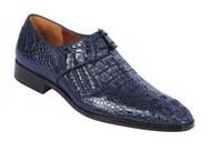 Lombardy - Genuine Caiman Croc Hornback Dress Shoe -Navy