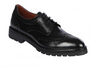 Lombardy - Leather Wingtip Lug Sole Shoe - Black