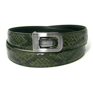 30mm Men's Genuine Python Snake Skin Belt - Dark Olive