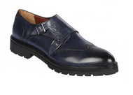 Lombardy - Leather Double Monk Strap Lug Sole Shoe - Navy Blue