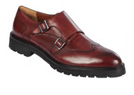 Lombardy - Leather Double Monk Strap Lug Sole Shoe - Burgundy