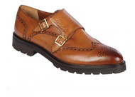 Lombardy - Leather Double Monk Strap Lug Sole Shoe - Honey