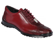 Los Altos Genuine Ostrich Leg Patch Design Burgundy Sneaker