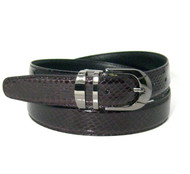 30mm Men's Genuine Snake Skin Belt - Purple Wine
