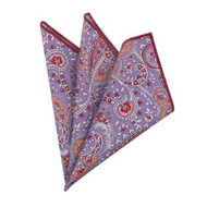 100% Cotton Paisley Pocket Square - Light Purple with Brick Red