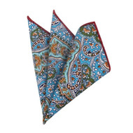 100% Cotton Paisley Pocket Square - Blue and Green Tones