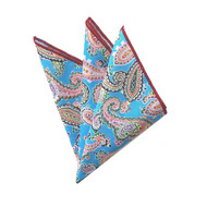 100% Cotton Paisley Pocket Square - Blue Tones