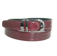 30mm Men's Genuine Snake Skin Belt - Burgundy