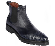 Lombardy - Genuine Ostrich & Caiman Belly Croc Lug Sole Ankle Boot - Navy Blue