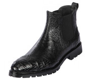 Lombardy - Genuine Ostrich & Caiman Belly Croc Lug Sole Ankle Boot - Black