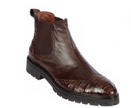 Lombardy - Genuine Ostrich & Caiman Belly Croc Lug Sole Ankle Boot - Brown