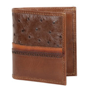 Lombardy - Brown Genuine Ostrich Quill & Leather Men's Wallet
