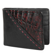 Lombardy - Black Cherry Stitch Design Genuine Caiman Croc & Leather Men's Wallet