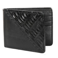 Lombardy - Black Stitch Design Genuine Caiman Croc & Leather Men's Wallet