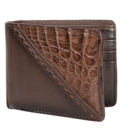 Lombardy - Brown Stitch Design Genuine Caiman Croc & Leather Men's Wallet