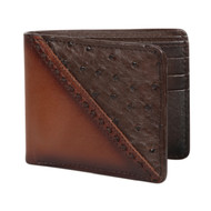 Lombardy - Brown Stitch Design Genuine Ostrich Quill & Leather Men's Wallet