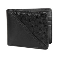 Lombardy - Black Stitch Design Genuine Ostrich Quill & Leather Men's Wallet