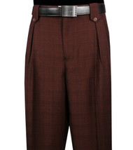 Veronesi 100% Wool Wide-Legged Slacks - Burgundy Plaid
