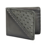 Lombardy - Grey Stitch Design Genuine Ostrich Quill & Leather Men's Wallet