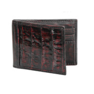 Lombardy - Black Cherry Genuine Caiman Croc & Leather Men's Wallet - Money Clip
