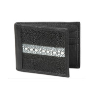 Lombardy - Black Genuine Stingray Rowstone Men's Wallet - Money Clip