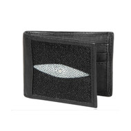 Lombardy - Black Genuine Stingray Singlestone Men's Wallet - Money Clip